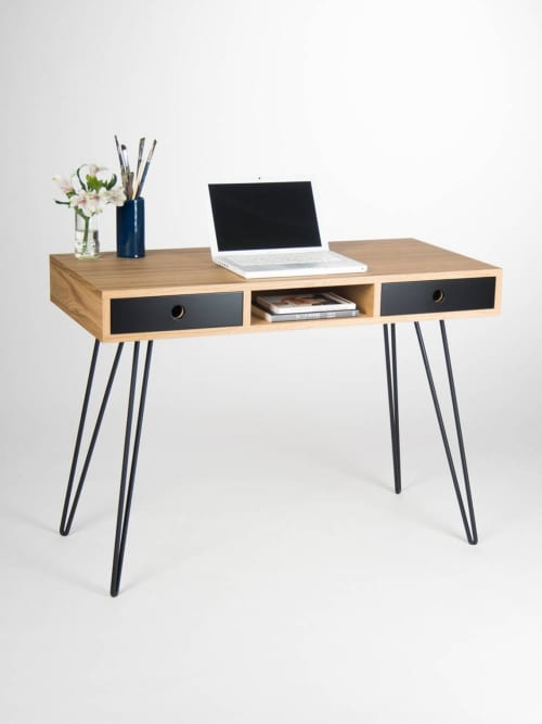 Furniture by Mo Woodwork seen at Creator's Studio, Stalowa Wola - Home office desk, industrial small table, with black drawers