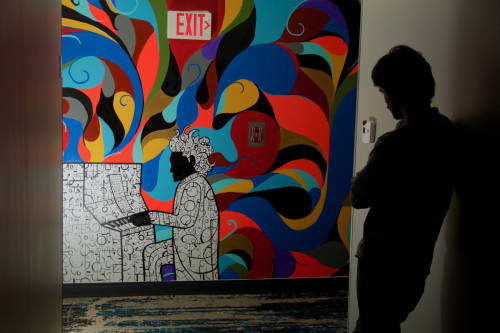 Murals by Tyson King seen at Andaz West Hollywood, West Hollywood - Piano Man Mural