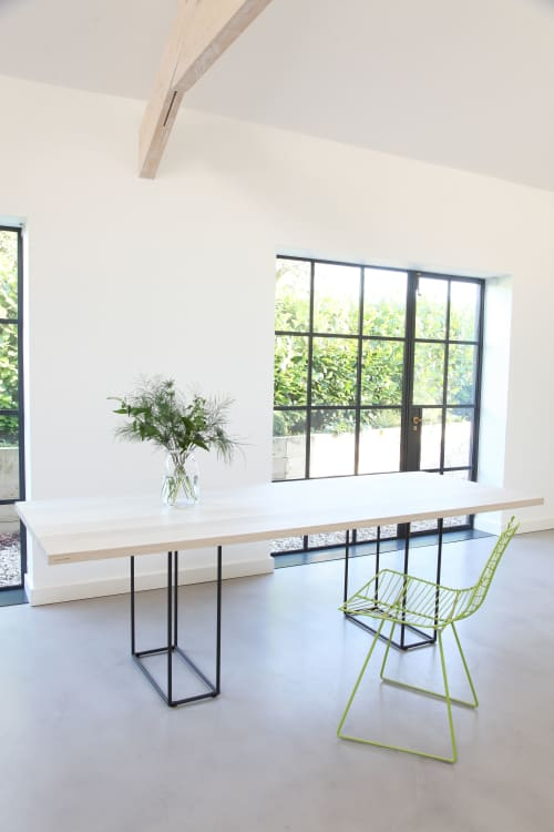 Bespoke bleached oak/steel dining table | Tables by Design by Timber
