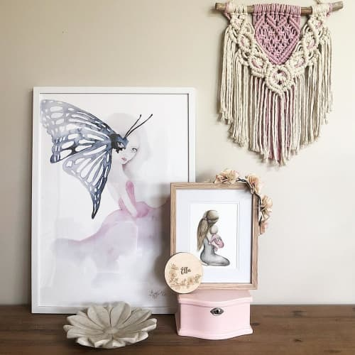 Macrame Wall Hanging by Ariella Home seen at Private Residence, Montrose - Pink & Raw Macramè