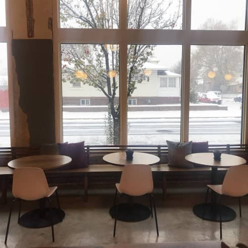 Tables by Art Builders Guild seen at Amethyst Coffee- Broadway, Denver - Round Table Tops