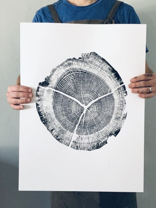 Walden Pond Tree ring print. 18x24 inches | Paintings by Erik Linton
