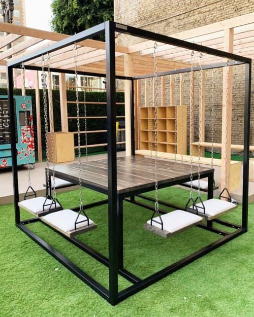 Black 8-Seater Swing Table with Oxidized Cedar   Tables by SwingTables   lululemon in Glendale