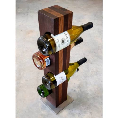 Roasted Oak Wine Towers with Raw Finished Steel Base   Tableware by Todd Alan Woodcraft   Todd Alan Woodcraft in Vancouver