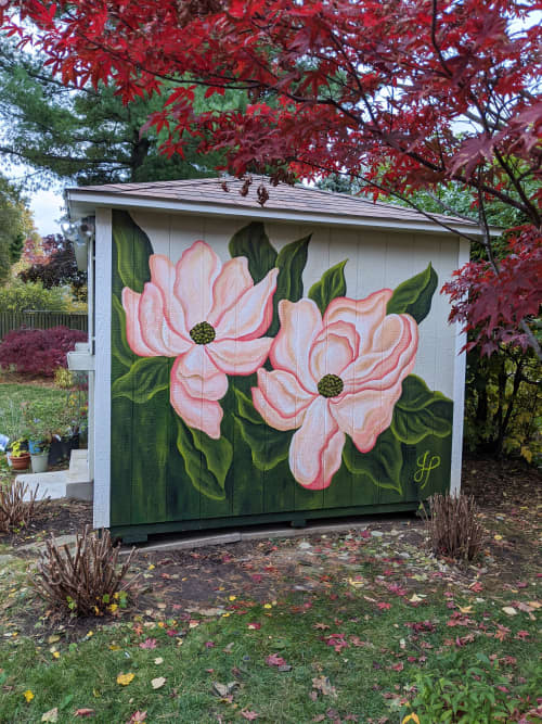 Murals by Julia Prajza seen at Private Residence, Toronto - Sweet Magnolias - Floral Shed