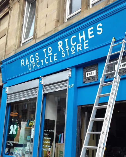 Rags To Riches Upcycle Store | Signage by Journeyman Signs (TATCH) | Rags To Riches in Glasgow