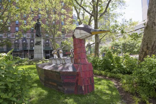 Public Sculptures by Nicolas Holiber seen at Dante Park, New York - Red-Necked Grebe