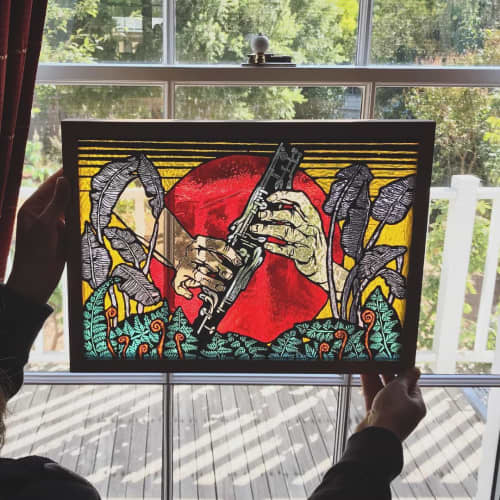 Murals by Nadine Keegan seen at Private Residence, Castlemaine - Clarinettist