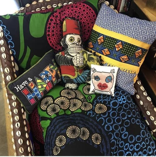 Pillows by Mommani Threads seen at Private Residence, Los Angeles - MOMMANI BABY sweet monster cotton sateen toss pillow