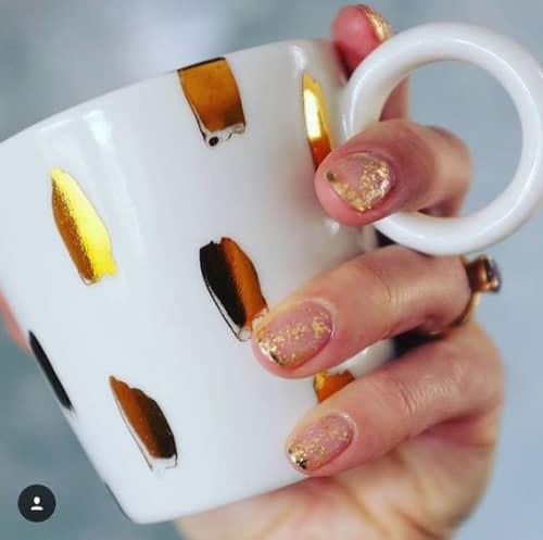 gold spots mug | Cups by Jade Gallup Studio