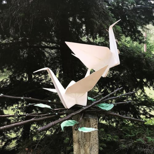 Public Sculptures by KevinBoxStudio. at Cape Fear Botanical Garden, Fayetteville - Nesting Pair