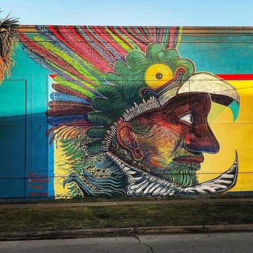 """El Indio de la guardia"" | Street Murals by Street Art of Artkungfu (Angel Quesada) | Mercy Night Club in Houston"