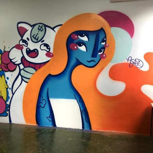 Murals by Agridoce seen at State College Jardim America, Jardim America - Indoor Mural