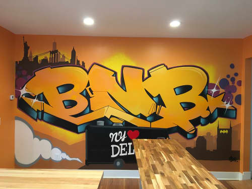 Murals by Eric 'Mobē' Bass seen at Bare Naked Bagel, Nashville - BNB