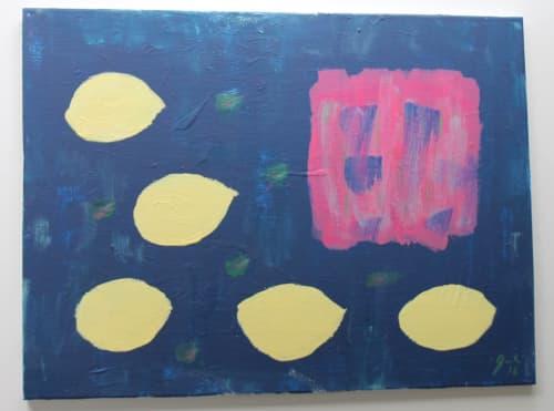 Lemons - navy | Art & Wall Decor by Jacqueline deMontravel