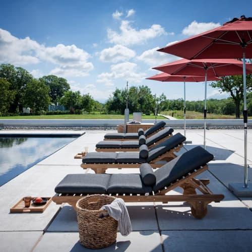 Chairs by Unopiù seen at Antonello Colonna Resort & Spa, Labico - Chelsea Teak Sunlounger