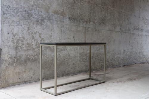 Tables by Hazel Oak Farms seen at Creator's Studio, Iowa City - Modern Metal & Wood Console Table