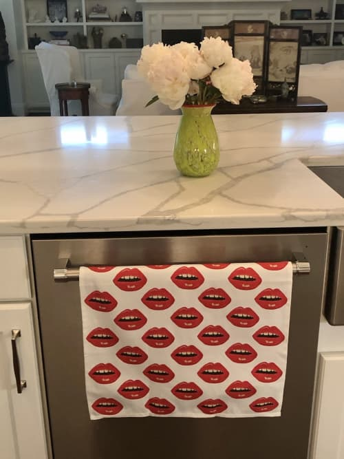 Linens & Bedding by Mommani Threads seen at Private Residence, Raleigh - cotton-linen BISOUS BISOUS! KISSES tea towel / custom made