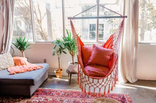 Furniture by Limbo Imports Hammocks seen at Creator's Studio, Atlanta - Coral Pink Macrame Hammock Chair + 2 Pillows Set