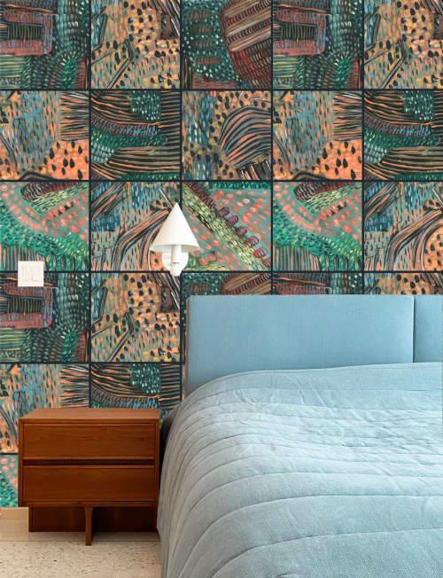 "Wallpaper by K'era Morgan seen at Creator's Studio, Los Angeles - Citrine Dreams in ""Dusk"" Large Grid & ""Daylight"" Small Grid"