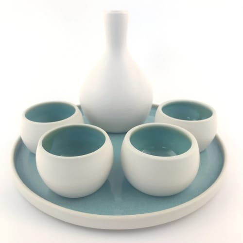 Sake Set White Turquoise | Tableware by Tina Fossella Pottery