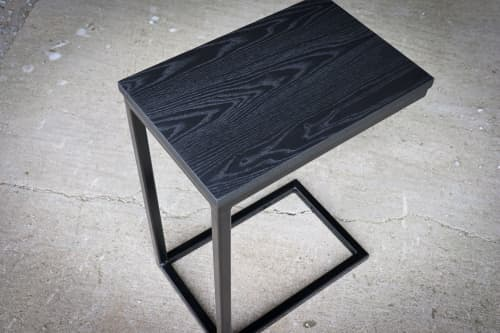 Tables by Hazel Oak Farms seen at Private Residence, Amana - Black Industrial C-table