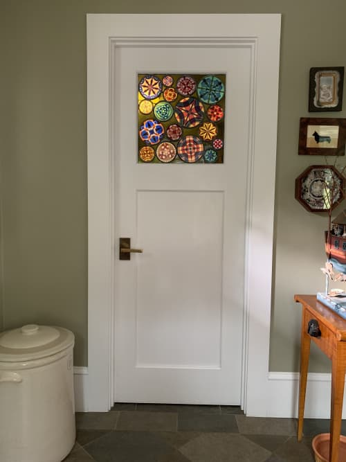 Double layered stained glass door panel | Art & Wall Decor by Kate Gakenheimer Stained Glass