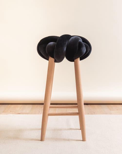 Black Velvet Knot Bar Stool | Chairs by Knots Studio