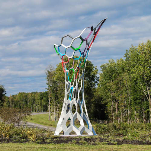 Sculptures by Osman Akan seen at Marcy Nanocenter at SUNY Polytechnic Institute, Utica - Nano