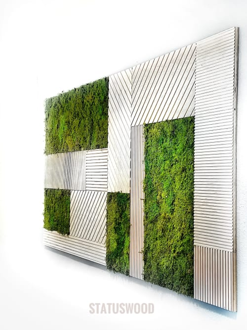 Wall Hangings by STATUSWOOD seen at Klein Educational Systems, Davis - Geometric textures and preserved moss wall art