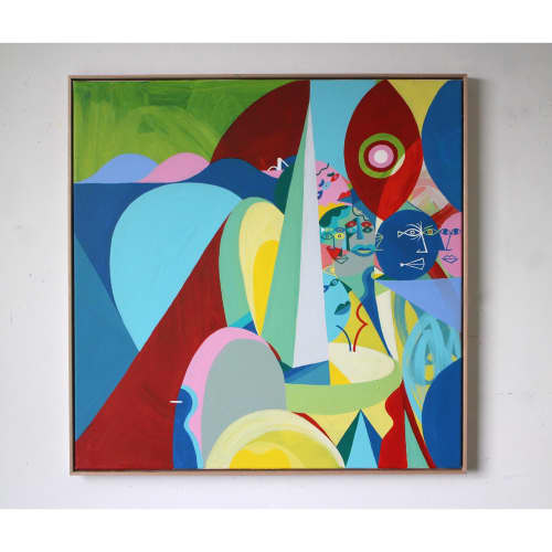 Paintings by Unwell Bunny / Ed Bechervaise seen at Private Residence, Melbourne - Paros from above