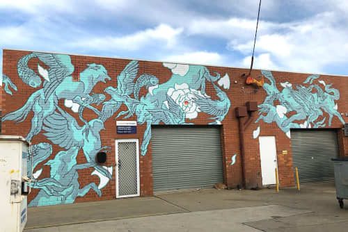 Murals by Creature Creature seen at Cadell Place, Wagga Wagga - Togetherness