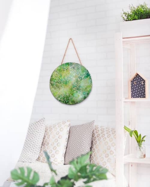 Wall Hangings by Chieko Shimizu Fujioka seen at Private Residence, San Diego - Forest Green Circular (Made-to-order)