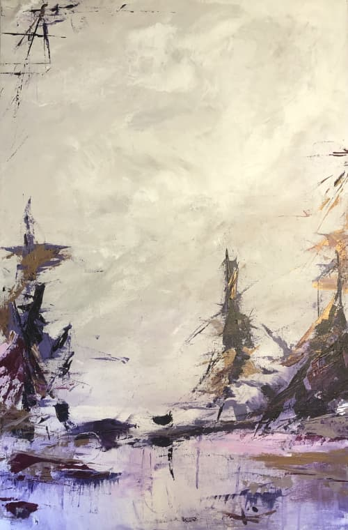 Paintings by Mireille Laroche seen at Creator's Studio, Ottawa - A Day at the Lake 3