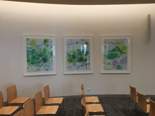 Paintings by Wendy Grace at Rose Chapel, Macquarie Park - wooded hollow series