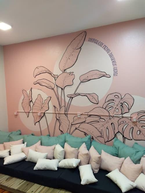 Murals by Estúdio Pepper seen at Senhora Farinha Bakery, Victor Konder - Leaves in the break room