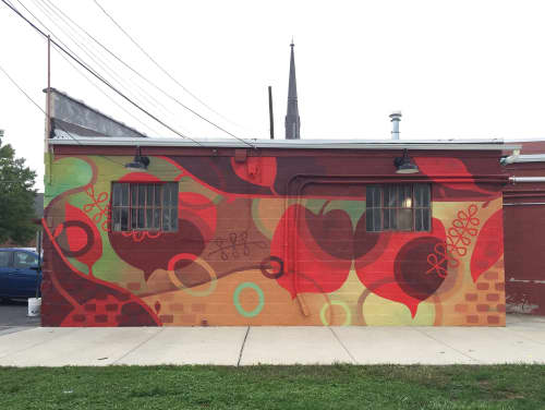 Red Floral Mural | Street Murals by Susan Melrath | Oxford in Oxford