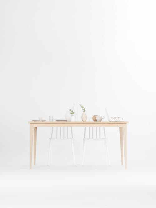 Farmhouse table, dining table, solid wood in white oak shade | Tables by Mo Woodwork