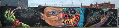 Murals by Max Ehrman (Eon75) seen at Peralta Street, Oakland - Duelatlity of Life