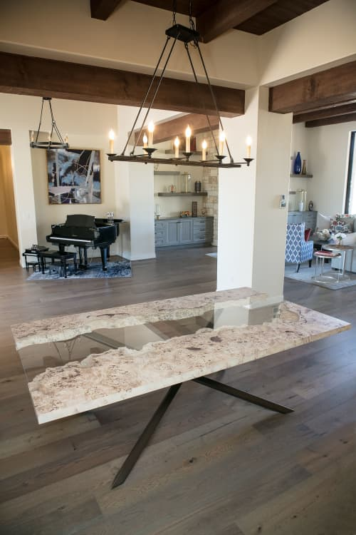 French Mappa Burl Glass Inlay River Modern Dining Table | Tables by Lumberlust Designs