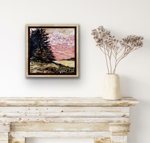 Paintings by willa vennema seen at Creator's Studio, Portland - Spruce Trees with Golden Light