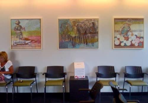 Paintings by Marjolyn van der Hart at Miles Nadal Jewish Community Centre, Toronto - Painting Installation at Miles Nadal Jewish Community Centre