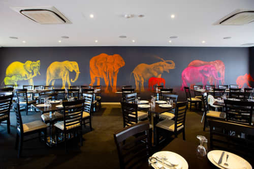 Elephants | Murals by Susan Respinger | Chilli Farms Indian Restaurant in Woodvale