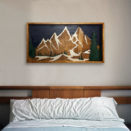 Wooden Mountain Wall Art - ''Spilos'' | Wall Hangings by Skal Collective