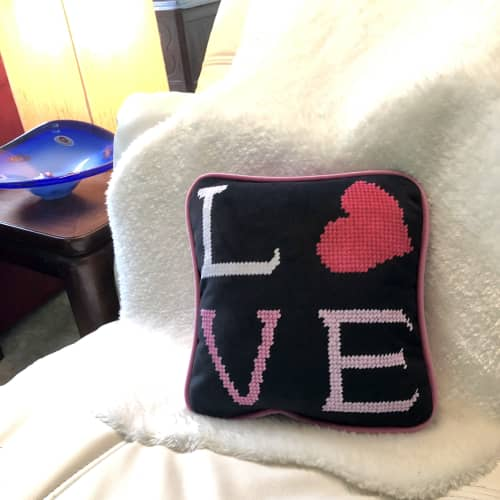 Pillows by Mommani Threads seen at Creator's Studio, Blowing Rock - contemporary needlepoint LOVE pillow / one of a kind