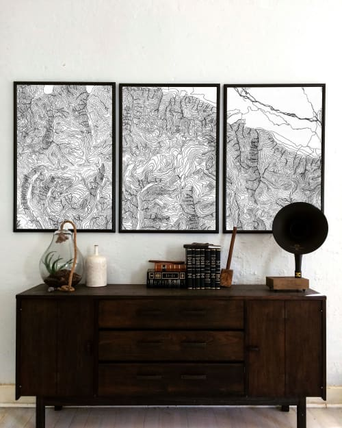 Topographical Map of the Grand Tetons | Art & Wall Decor by Erik Linton
