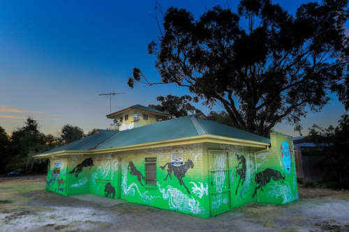 Street Murals by Creature Creature seen at Lagoon Reserve, Port Melbourne - Past and Present