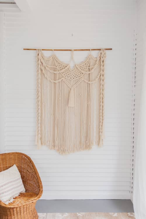 Natural Swooping Chain Macrame Wall Hanging   Macrame Wall Hanging by Demi Macrame & Designs
