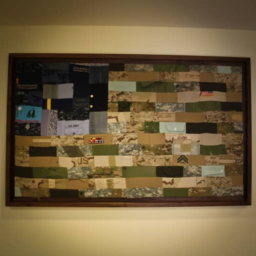 Wall Hangings by Alicia Dietz Studios seen at Center for Wounded Veterans in Higher Education, Urbana - Military Patchwork Flag
