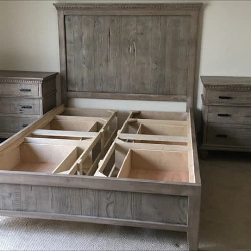 Monaco Storage Bed with Venetian Detail | Beds & Accessories by Larry St. John & Co. Custom Furniture